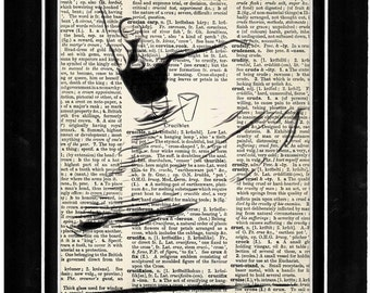 316 modern dance/outline/cartoon art/ vintage dictionary paper art
