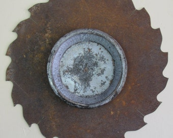 Saw Blade Assemblage/ Rusty Wall Sculpture/ One-of-a-Kind Asemblage