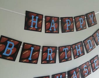 Football themed happy birthday banner. football birthday party decorations