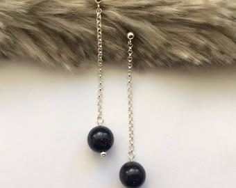 Long Earrings, Dangling Earrings, Long Chain Earrings, Gemstone Earrings, Blue Goldstone Earrings, Statement Earrings, Gift for Women