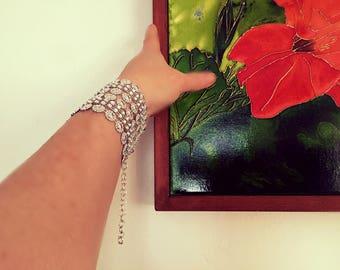 Celebrity Inspired Celestial Silver-tone STAR Mesh Bracelet|WIDE Faux Rhinestone Star Mesh BLING Bracelet Star Jewelry, Gifts for Her