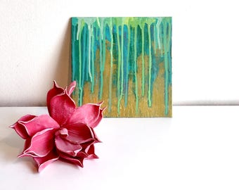 Abstract painting 'Green & gold', ORIGINAL, acrylic on cardboard, free shipping, green, gold, metallic, small