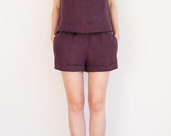 Maroon linen shorts / Maroon linen sleepwear / Linen pyjamas