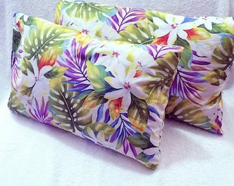 "set of 2 handmade hawaiian pillowcase, (13 × 20"") envelope style pillowcase, indoor pillowcase, pillow covers, kids pillowcase"