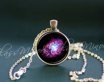 Galaxy Crab Nebula Pendant, Purple Turquoise Space Jewelry, Wanderlust Travel Nautical, Geekery Necklace Outerspace Universe Cosmos Necklace