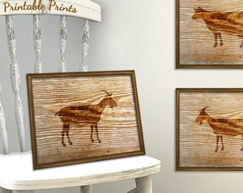 Goat Print - Rustic Baby Nursery Decor - Printable Goat Art - Printable Rustic Wood Print - Farm Animal Print Instant Download