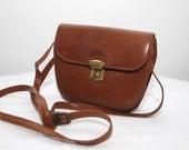 80s small PICARD bag. tan leather bag. shoulder bag. crossbody purse