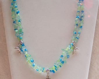 Blue Necklace, Seahorse Necklace, Dolphin Necklace, Multi-Strand Necklace, Ocean Necklace, Blue, Seafoam Green, Glass Chips, Silver,