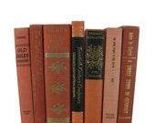 Shades of Brick Orange Vintage Books , Home Decor , Decorative BooksOld Books , Vintage Photo Props , Table Setting , Wedding Decor