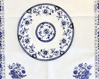 Blue Onion Style English Soup Plate Vintage Blue White Transferware Collectible China British Anchor Pottery Co Ltd 1880s 1890s Earthenware