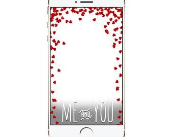 Falling Hearts SnapChat Filter - Raining Hearts - Love Custom Geofilter - Anniversary