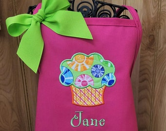 Personalized Children Cupcake Apron Fun Colors Monogrammed with Name or Initials