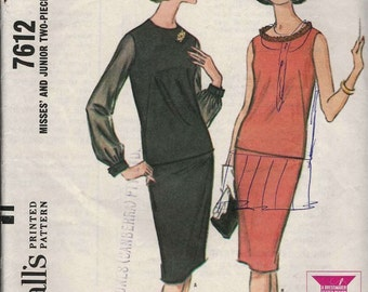 PATTERN McCalls 7612 Two piece dress lined long waisted fitted top bateau or round neckline with slim skirt Size 12 Bust 32