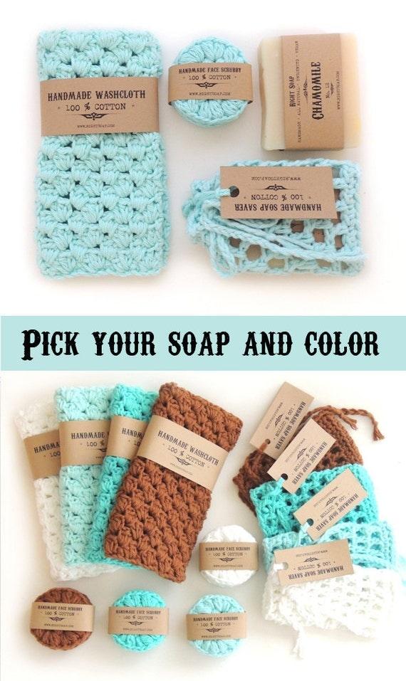 Gift for Women Gift stocking stuffer gift christmas Gift for Wife Gift For Girlfriend Gift For mom soap set washcloth Natural soap vegan