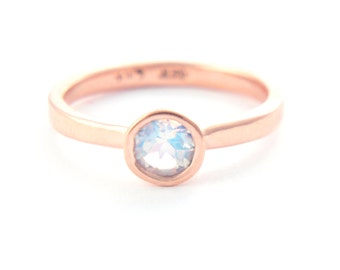 Moonstone Rose Gold Ring Rainbow Moonstone Engagement Ring Blue Moonstone Ring 14k Gold Ring Sterling Silver Ring In Your Size