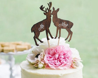 Deer Wedding Cake Topper  Mr & Mrs -  Rustic Country Chic Wedding