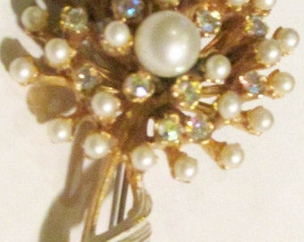 Gorgeous Vintage B.K.S. Pearl and Rhinestone Blooming Vine Brooch - 2-1/4 in tall, 1-1/2 in wide