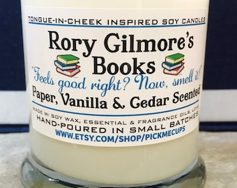 Gilmore Girls Book Soy Candle-Rory Gilmore's Books-Paper,Vanilla,Cedar Scented Candle -Gilmore Girls Gifts-Mother's day gifts- gifts for mom