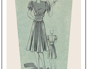 1940s Tea Dress Sewing Pattern -  PDF Full Size Sewing Pattern - Instant Download