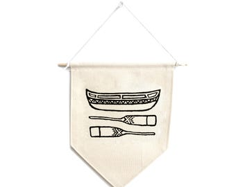 Small Canvas Banner - Canoe & Paddles Print - Adventure Print - Outdoors Print - Wall Banner