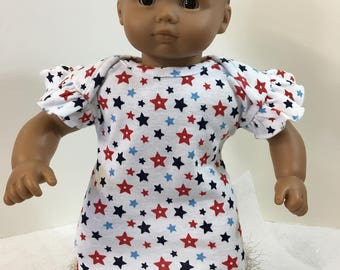 "15 inch Bitty Baby Clothes, Patriotic ""STARS"" - Red White & Blue! Dress, 15"" AG Bitty Baby/Twin, Fits 16"" Cabbage Patch KIDS, 4th of July!"
