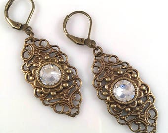 Clear Swarovski Crystal Filigree Earrings - Vintage Style Earrings - Victorian Earrings - Dawn Santucci - Metal di Muse - Steampunk Earrings