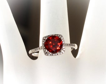 Sterling Silver Mozambique Garnet & Diamond Halo Birthstone or Engagement Ring, Custom Sizes Available