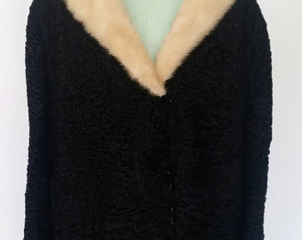 1950's SCHIAPARELLI Coat Black Persian Lamb Blonde Mink Fur Collar