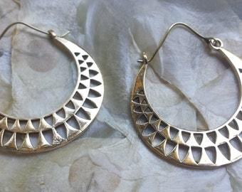 Brass Tribal Sun Hoop Earrings - Boho, Ethnic, Gypsy, Funky EB19