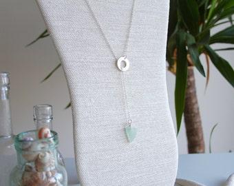 Sterling Silver Sea Glass Necklace, Sea Glass Jewellery, Lariat & Y Necklace, Sea Glass Necklace, Sterling Silver Necklace, Washer Necklace
