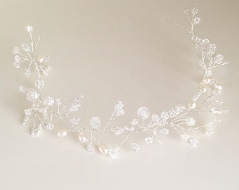 Bridal hair piece, rustic hair vine, wedding headpiece, silver hair vine, hairpiece, wedding hair accessories, rustic hairpiece, pearl halo