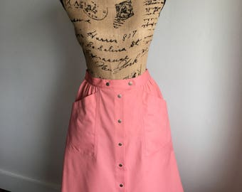 Vintage Midi Skirt.Pink.Snap Buttons