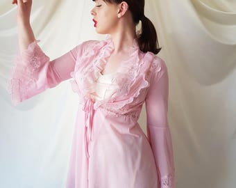 Vintage 1960s Candy Pink Long Peignoir | Robe Featuring Pleated Ruffles, Floral Lace Details, Circular Flounce Sleeves & Fine Lace Hem