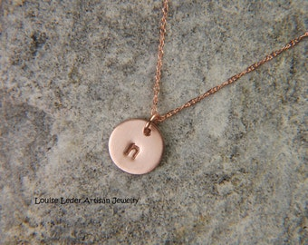 14K Rose Gold Necklace 8 mm Dainty Gold Necklace Personalized Gold Necklace Solid Rose Gold Disc Necklace