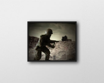 WAR GAMES NO.2 | Toy soldier photography | surreal art print | green and brown decor | political wall art | boys room art | army man photo
