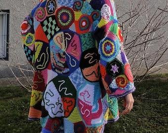 ORIGINAL crochet freeform coat-READY to SHIP-patchwork hippie vest jacket hippie dress boho chic vintage high fashion bohemian gypsy
