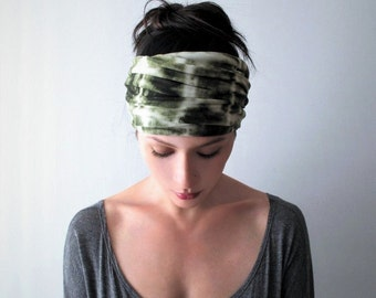 TIE DYE Yoga Headband - Olive Green and White Hair Wrap - Hand Dyed Bohemian Headband - Boho Hair Accessories - Extra Wide Head Scarf