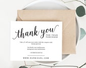 INSTANT Business Thank You Cards, Editable PDF Printable Packaging Inserts for Online Shops, Etsy Sellers, Calligraphy Style, Amelia