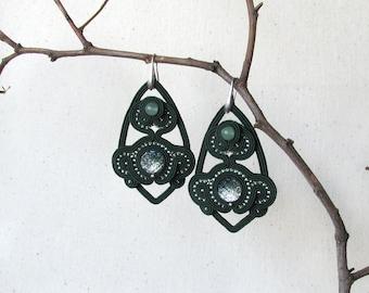 Girlfriend gift Green earrings Birthday gift Elegant earrings Victorian earrings Soutache earrings Shiny earrings Luxury jewelry Boho gift