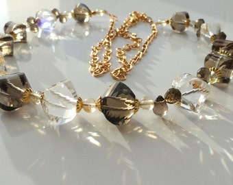 Clear rock crystal smoky quartz necklace jewelry gemstone natural crystal quartz luxury jewelry statement necklace bohemian style gift