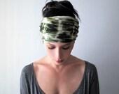 Deal of the Day TIE DYE Headband - Olive Green Hair Wrap - Tie Dye Scarf - Bohemian Headband - Boho Hair Accessories - Extra Wide Head Scarf