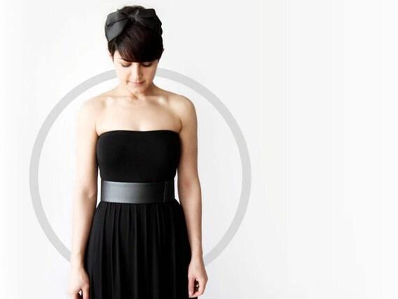 Black waist belt - modern and minimalist leather look sleek women's waist belt- wide black vegan belt