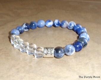 PISCES Bracelet, Zodiac Bracelet, Crystal Bracelet, Astrology Bracelet, Zodiac Jewelry, Blue Jewelry, Wiccan, Pagan, Gemstone Bracelet