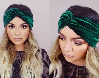 Turban Headband | Velvet | Hair Accessories | Gifts For Her | Forest Green