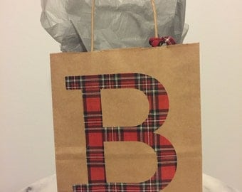 Personalized Initial Red Plaid Kraft Paper Gift Bag