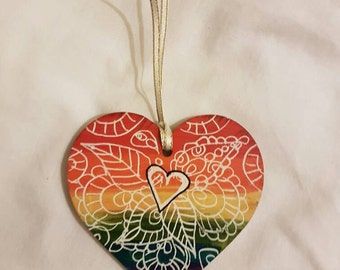 Painted Wooden Heart