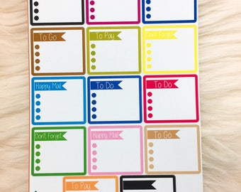 14 Side Bar stickers, Assorted Colors, Rainbow stickers, Tracker stickers, To Do Stickers, Side Bar, To clean Stickers, Functional Stickers