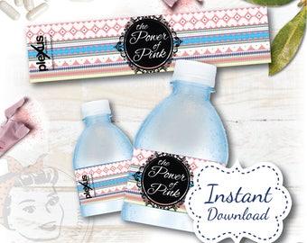 Water Bottle Label - Aztec INSTANT download DIGITAL FILE