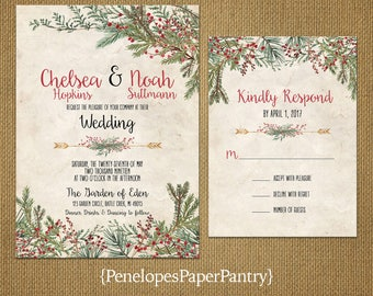 Christmas Wedding Invitation,Evergreen Branches,Red Winter Berries,Floral Arrow,Parchment,Rustic,Romantic,Printed Invitation,Wedding Set