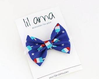 4th of July Baby Headband - Bomb Pop Bow - Baby Girl Headband - Popsicle Hair Bow -  Summer Bow - Nylon Headband - Fabric Bows
